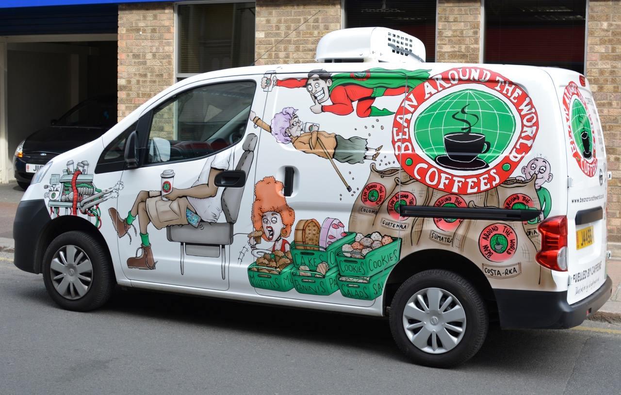 'Bean Van' Illustrated van design for Bean Around the World coffee shop.